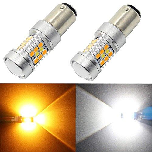 Alla Lighting 1157 2357A BAY15D - Bombilla LED con interruptor, color blanco y amarillo ámbar extremadamente brillante 2835 28-SMD