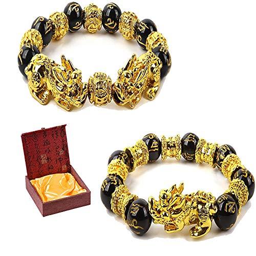 2 Pieces Feng Shui Bracelets Mantra Amulet Bead Obsidian Bracelets with Gold Plated Pi Xiu/Pi Yao for Women Men Adjustable Elastic - Good Luck Wealt (14mm)