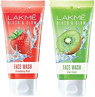 Lakmé Blush and Glow Strawberry Gel Face Wash, 100g & Lakme Blush and Glow Kiwi Freshness Gel Face Wash with Kiwi Extracts, 100 g