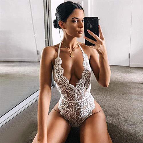 Damskie kostiumy erotyczne damskie zestawy odzieży nocnej i szlafroków duży rozmiar damska bielizna nocna seksowna piżama bielizna nocna koronkowa bielizna nocna seksowna bielizna erotyczna bielizna bobydolls seksowna bielizna nocna - biała_M