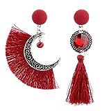 Fossrn Pendientes Mujer Largos Flecos Asimetría Sol y Luna Bohemio Borla Colgar Aretes (Rojo)