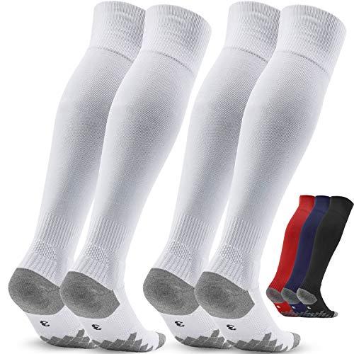 Fussballstutzen Herren Fussballsocken Stutzen - Fussballstrümpfe Stutzenstrumpf 2 Paar EU 39-42 – Sportsocken Trainingssocke Sockenstutzen - für Fußball, Laufen, Training (Weiß 3)