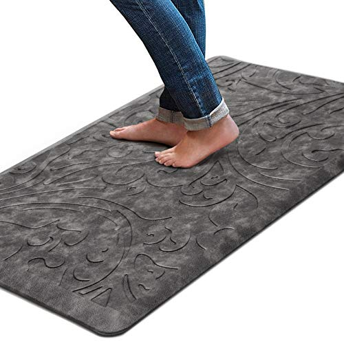 KMAT Kitchen Mat Cushioned Anti-Fatigue Floor Mat Waterproof Non-Slip Standing Mat Ergonomic Comfort Floor Mat Rug for Home,Office,Sink,Laundry,Desk 20'(W) x 39'(L),Grey