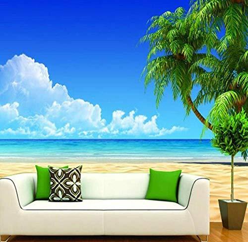 Vliesbehang, 3D-foto, modern, behang, zee, horizon, strand, zijde, 3D, behang 200*140 200*140