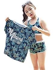 NICEYY キッズ 水着 女の子 セパレート 半袖 タンキニ 3点セット スクール水着 ラッシュガード ショートパンツ 体型カバー UVカット 紫外線対策 120-150cm