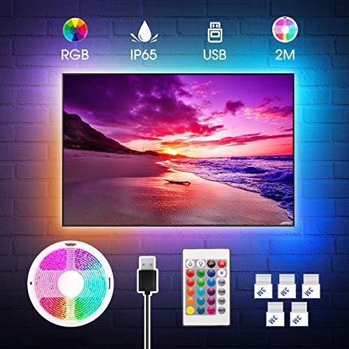 Tira LED TV 2M, RGB 5050 Impermeable USB con Control Remoto, 16 RGB Colores y 4 Modos, Retroiluminacion LED de TV para Cine en Casa, HDTV/PC Monitor Dormitorio Mesa Gaming