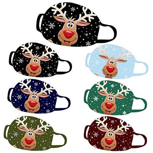 Weihnachten M0sks Face_Mask, Weihnachtsdekorationen & Geschenk, Niedlicher Hirschdruck Mehrweg-Waschfilter für Frauen Männer Party, Frauen Männer