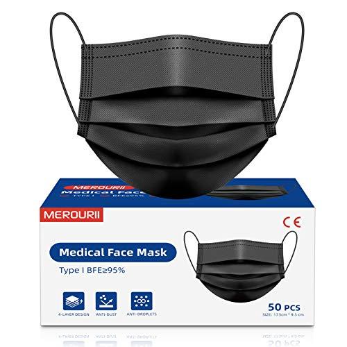 Medizinische Masken, Schwarz Maske Mundschutz, Einweg Medizinische Maske 50 Stück, 4-lagige Nasen Mundschutz Maske, Atemmaske, Gesichtsmaske für Erwachsene, Gesundheitsschutz Staubmaske