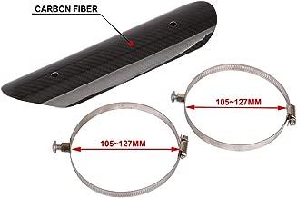 AnXin Universal Motorcycle Carbon Fiber Exhaust Muffler Pipe Heat Shield Heat Insulation Cover Heel Guard For KTM HONDA YAMAHA SUZUKI KAWASAKI BMW - Black