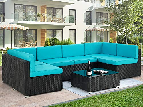 U-MAX 7 Pieces Outdoor Patio Furniture Set, All Weather Black PE Rattan Wicker Sofa Set, Sectional Furniture Conversation Set with Cushions and Coffee Table for Porch Garden Poolside, Blue