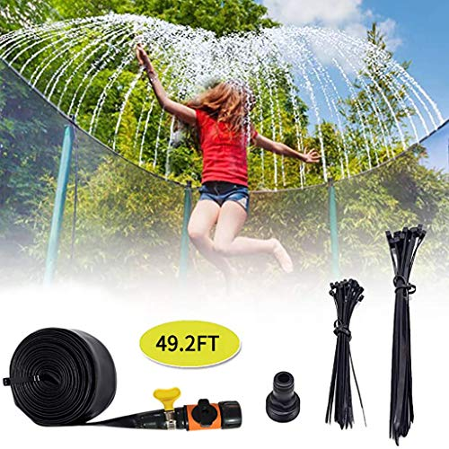 LUCKME Trampoline Sprinkler, Water Park Sprinkler Best Outdoor Kids Fun Summer Games Hose Pipe Fun Summer Pools Sprinkler Toys Accessories Fun Summer Activities For Garden Yard (15M/49.2FT)