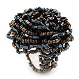 Tamaño grande marrón peltre/anillo elástico con una tira de cuentas de protector de pantalla de cristal Diseño de flores