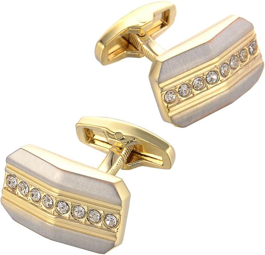 BO LAI DE Men's Cufflinks Gold Diamond Metal Cufflinks Shirt Cufflinks Suitable for Wedding Business Luxury Tuxedo Formal Shirts, with Gift Box