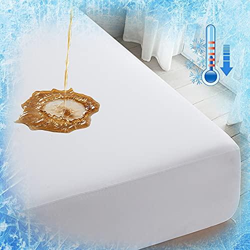 Luxear Spannbettlaken 100x200cm kühlend, wasserdichte Matratzenschoner Arc-Chill Q-Max 0,43 Kühlfasern, Spannbetttuch Anti-Milben für Allergiker Baby, Matratzenschutz Matratzen Topper, weiß