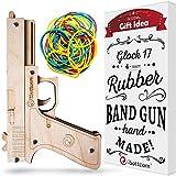 iSottcom Gummiband Pistole - Spielzeugpistole Pistole für drinnen und draußen - Holzpistole -...