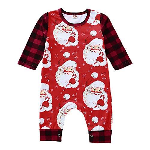 SomeTeam Jungen Strampler Neugeborenes Baby Jungen Mädchen Weihnachten Plaid Santa Overall Strampler Kinder Langarm Santa Printed Hare Jumpsuit