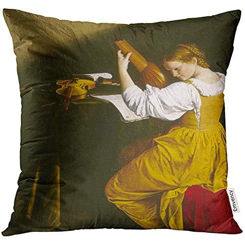 Leisure-Time Fundas de cojín Fundas Decorativas El Jugador de laúd de Orazio Gentileschi C Pintura renacentista Italiana