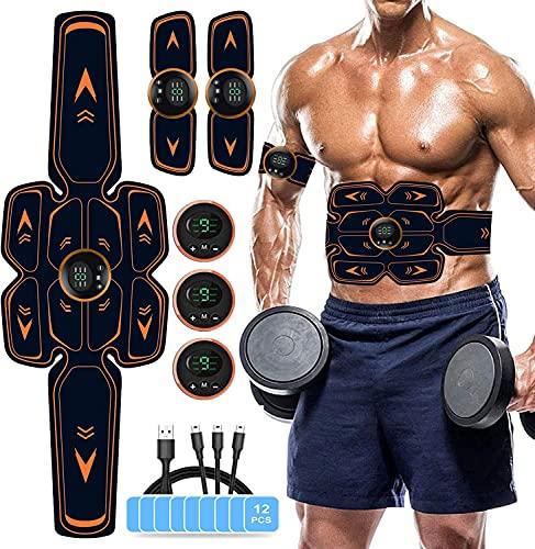 WUGEIN Elettrostimolatore Muscolare, EMS Suscolo Addominale,Ricarica USB ABS Trainer/Toner per Addome/Braccio/Vita/Gambe