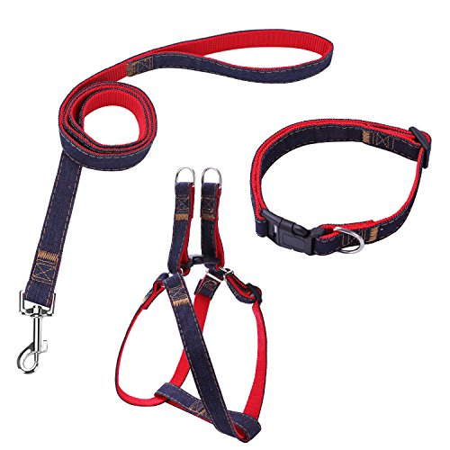 Bark Lover Dog Harness Leash and Collar Matching Sets for Small Puppy Medium Large Dogs Pets, Heavy Duty Nylon with Denim Design, Perfect Accessories for Walking Training Your Dog(M,Red)