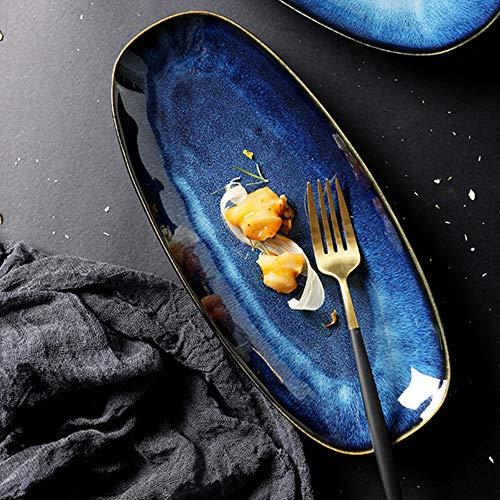 Speiseteller aus Keramik Blaue Salate Teller Große Oval Servierplatten Kreative Porzellan Frühstücksteller Tafelsevice Modern Essgeschirr 28.1x18.6cm