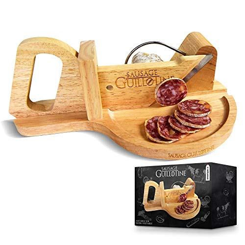 mikamax - Wurst Schneider Guillotine - Traditionelle Wurstschneidemaschine - Sausage Guillotine - 30 x 19 x 12 cm - Massivholz