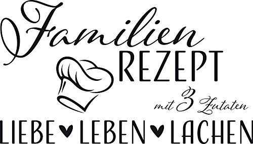 GRAZDesign Wandtattoo Familien-Rezept mit Kochmütze - Familientattoo als Wand-Deko für Wohnzimmer/Schlafzimmer/Küche / 70x40cm / 070 schwarz
