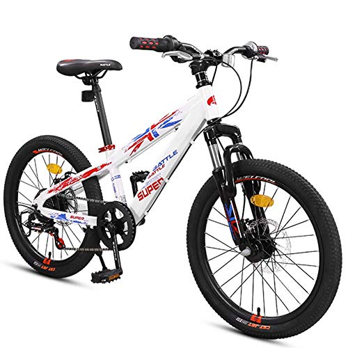 Xiaoyue Bikes Jungen Berg, Berg Trail Bikes mit Doppelscheibenbremse, Vorderradaufhängung Aluminium-Rahmen All Terrain Berg Fahrrad, Weiß, 20-Zoll-7-Gang lalay