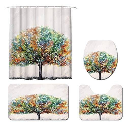 Abstract Tree of Life Shower Curtain Sets with Non-Slip Rug, Toilet Lid Cover and Bath Mat Farmhouse Shower Curtain with 12 Hooks Waterproof Durable Shower Curtain for Bath Room Original Design