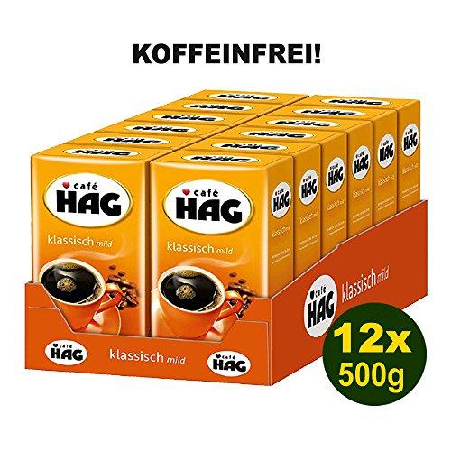 Cafe HAG, Kaffee Klassisch Mild 12x 500g (6000g) Filterkaffee - Röst Cafe entkoffeiiert