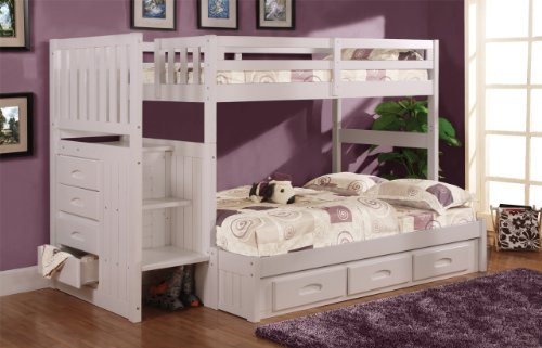 Discovery World Furniture Twin Over Full Stair Stepper Bed with 3 Drawers in White Finish