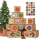 Scatole Calendario Dell'avvento, 24 Scatole Calendario Natale, Calendario Fai da Te Scatole, Dell'Avvento Catole Regalo, Scatole con 1-24 Adesivi Numerici, Calendario Avvento 2021 per Natale (M2)