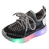 YWLINK Fondo Blando Antideslizante Zapatos para NiñOs Led Volando Tejidas Luces Luces Zapatillas Luminosas Ligeras Zapatillas De Deporte Corriendo Ciclismo CóModo(Negro,23EU)