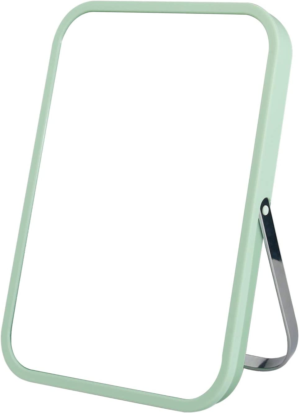 Tabletop Makeup Mirror, Square Foldable Vanity Mirror, 8-Inch Portable Folding Mirror with Metal Stand, Table Desk Standing Wall Hanging 90°Adjustable Dual-Purpose Cosmetic Mirror(Green) -