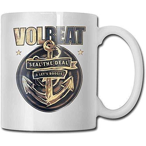 Volbeat Becher Kaffeetasse Teetasse Wein Becher Neuheit Lustiger Becher Weiße Keramiktassen Großer C-Griff