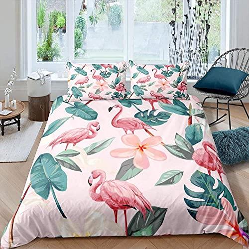 Funda Nordica Cama 150/135 240x220 Pájaro de Llama Rosa Blanca Suave Polyester Colchas Cama con 2 Fundas de Almohada 80x80 y Cremallera Resistente Correa Fija Juveniles Infantil Niña