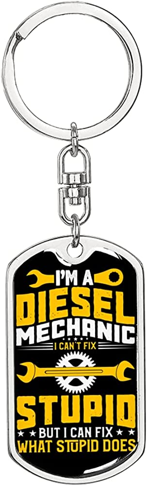 I'm Finally Super intense SALE popular brand a Diesel Mechanic Swivel Keychain or Tag Stainless Dog Steel