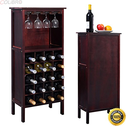 COLIBROX-- New Wood Wine Cabinet Bottle Holder Storage Kitchen Home Bar w/ Glass Rack Wood Wine Cabinet Bottle Holder Storage Kitchen Home Decor Liquor Bar Rack US