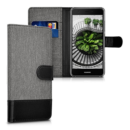 kwmobile Wallet Case kompatibel mit Huawei Nova - Hülle Kunstleder mit Kartenfächern Stand in Grau Schwarz