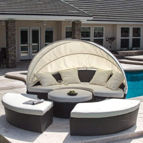 Christopher Knight Home 238170 Bellagio 4-Piece Outdoor Daybed Sectional Set, Beige