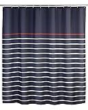 WENKO 20965100 Duschvorhang Marine Blue - waschbar, mit 12 Duschvorhangringen, 100 prozent Polyester, Mehrfarbig
