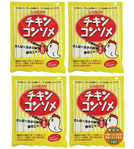 無添加 ヒカリ チキンコンソメ・液体タイプ (10g×8)×4個★ ネコポス ★原材料:とりがらスープ、食塩、醤油(有機)(大豆、小麦を含む)、砂糖、たまねぎ(有機)、にんじん(有機)、キャベツ(有機)、セルリー(有機)、香辛料