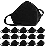 15 PCS Cotton Cloth Face_Masks Protection, Reusable 3 Layer Protective Stretchable and Lightweight, Adjustable Mouth Cloth, Washable Fashion Unisex Black