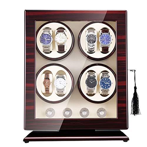 Sunmong Caja enrolladora de Reloj automática de Madera, 5 Modos de roating y Motor silencioso, Caja de Almacenamiento para 8 Relojes, Cerradura y Llave de Seguridad (Color: Blanco)