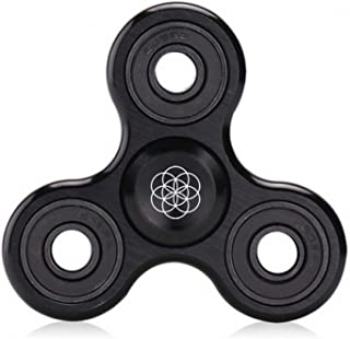 Premium Aluminum Alloy Spinner Fidget by Flickits (BLACK) - Ultra High Speed Tri-Spinner Fidget Toy Stress Reducer with Premium Bearing Hand Fidget Spinner for ADHD, Anxiety, For Adults and Children