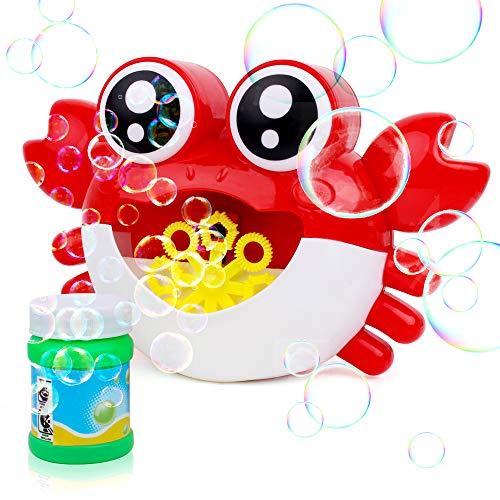 JOYGOGO Seifenblasenmaschine, Krabbe Seifenblasen-Maschine für Kinder Enthält 1 Seifenblasen-Lösung, 800+ Blasen/Minute, einfach zu verwenden für draußen, Geburtstagsfeier, Hochzeit