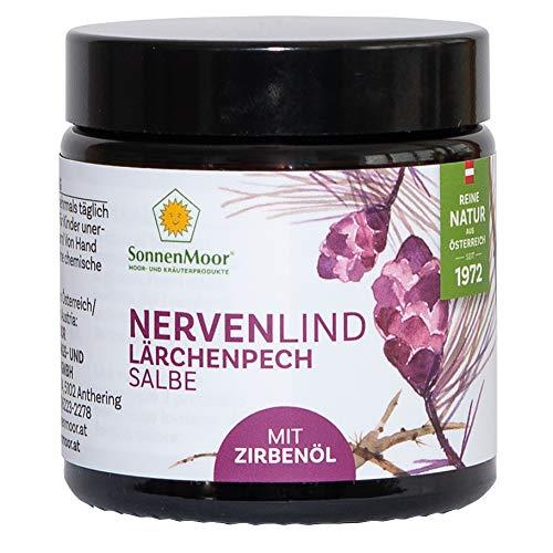Sonnenmoor Nervenlind - Lärchenpechsalbe 90g mit Zirbenöl, Nervencreme aus bewährter Alpenrezeptur zum Einreiben erhältlich in 25g und 90g