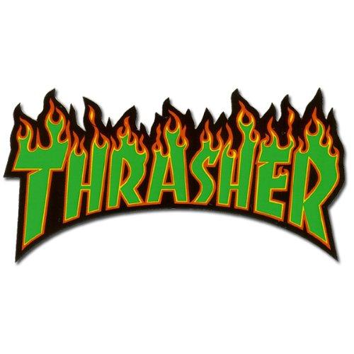 Thrasher Flames sticker Green (M) ステッカー