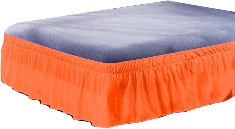 Mentin - Falda de cama con volantes, antipolvo, elásticos de color liso (naranja, 150 x 200 cm + 40 cm)