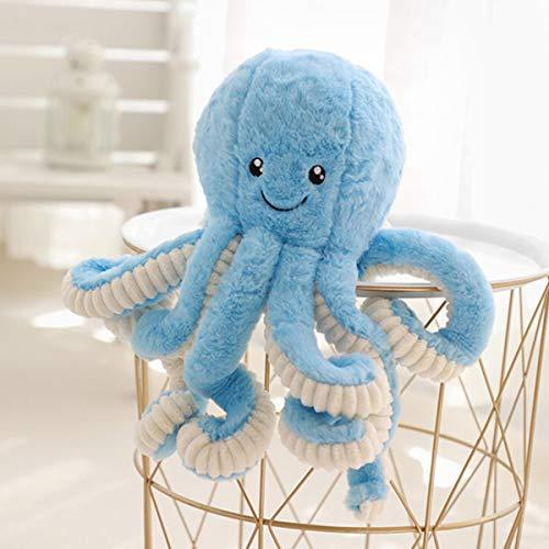 JYCRA Cartoon-Oktopus-Plüsch-Puppe, 40 cm, süße Oktopus-Puppe, weich gefülltes Tier-Spielzeug, Plüsch-Kissen für Kinder, Mädchen, Jungen, Geburtstag, Weihnachtsgeschenk, Plüsch, blau, 40 cm