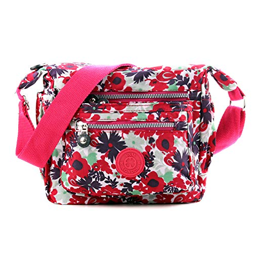 Wedmay Womens Multi Pocket Casual Cross Body Bag Travel Bag Messenger Handbag Satchel Hiking Daily Use (WM3206 Red Small Flower)